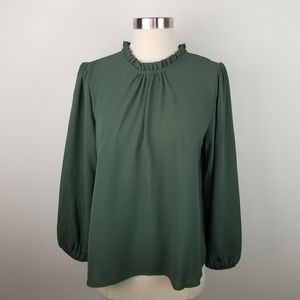 New Boohoo GreenLong Sleeve Blouse Top Size 6